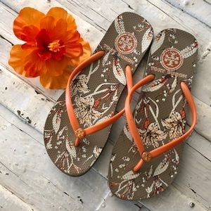 Floral Tory Burch Beach Sandals